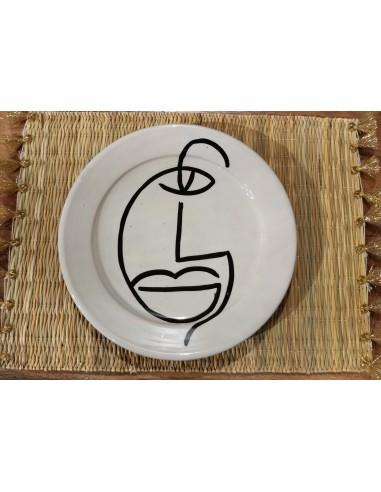 Assiette plate visage noir et blanc