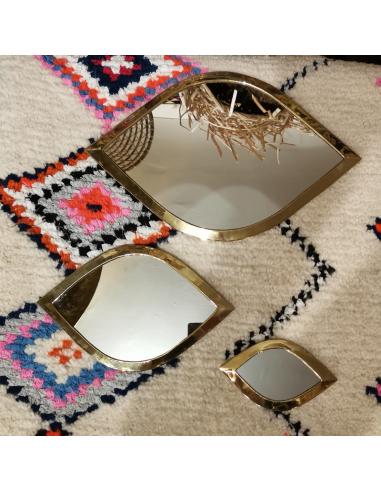 """Miroir """"Oeil"""" en cuivre doré"""